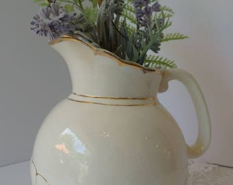 Vintage WHITE FARMHOUSE PITCHER, White Pitcher, Farmhouse Pitcher, Vase, Utensil Holder