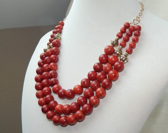 Red Coral Statement necklace,Red coral christmas necklace,red sponge coral necklace,3 strand red coral necklace,red coral bib necklace