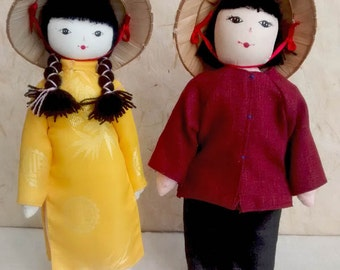 Vietnamita costume bambole, bambola folk, vintage, bambola, vintagefr