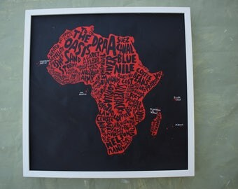 Africa poster - Map art of Africa - modern wall art - custom gift idea for African friend - red and black - 50 x 50cm, 20 x 20in