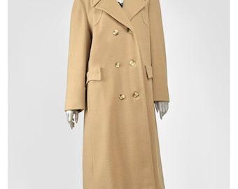SALE Vintage Long Wool Coat Camel Coat Peacoat 70s Coat Brown Wool Coat Wool Pea Coat Double Breasted Dress Coat 1970s Coat