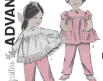 Advance 9805 Toddler Girl's 60s Top and Dress Sewing Pattern Size 2 Breast 21