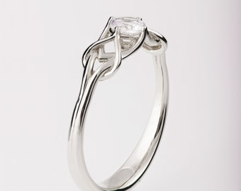 Celtic Engagement Ring, Platinum engagement ring, Unique diamond ring, unique engagement ring, Knot ring, solitaire ring, ENG10