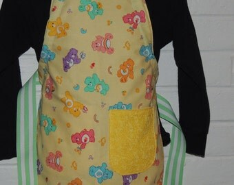 REVERSIBLE Child Country Cooking Apron / Art Smock fits size 3, 4, 5, 6 and 7 Yellow Care Bears green stripes