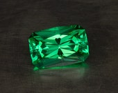Green Sapphire Loose Lab Created Flame Fusion Conflict Free Modern Precision Cut Cushion Gemstone
