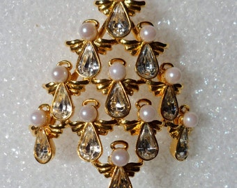 Butler Wilson Angel Christmas Tree Signed BW Gold Plated Christmas Tree! Swarovski Tear Drop Crystals Faux Pearls Ships Free Sale + 20% Off!