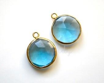 London Blue Quartz Round Pendant Vermeil Gold 19x15mm, Blue Round Quartz Jewelry, Blue Quartz Pendent, Quartz Gift Necklace, Blue Earrings