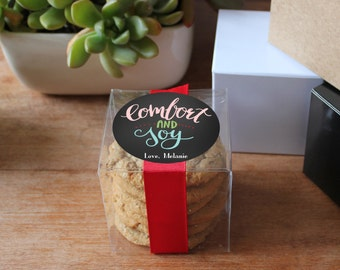 12 - Personalized Holiday Gift Boxes | Comfort and Joy Labels | Holiday Cookie Boxes | Holiday Gift Boxes | Holiday Party Favor Box