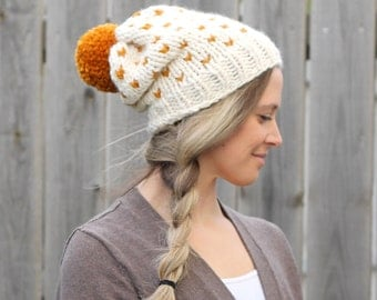 Woman's Heart Fair Isle Knitted Slouchy Hat in Off White with Butterscotch Pom Pom