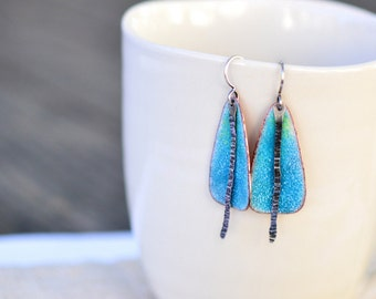 Teal enamel earrings - long enamel earrings with sterling silver - artisan jewelry by Alery