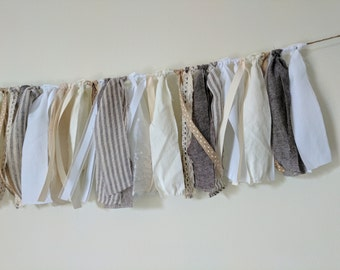 Farmhouse Scrap Garland - Neutral, Brown, White, Ivory - Fabric, Ribbon - Rustic - Neutral Decor - Mantle, Kitchen - Scrap Bunting - 4Ft