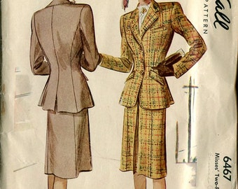McCall 6467 1940s Suit Jacket Skirt WWII Designer Sewing Pattern B30