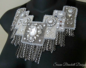 Crystal Skyline Beaded Bib Necklace Vintage Rhinestones Pearls Black Satin Ribbon Tie Swarovski Cocktail Jewelry Elegant Boho Chic Style