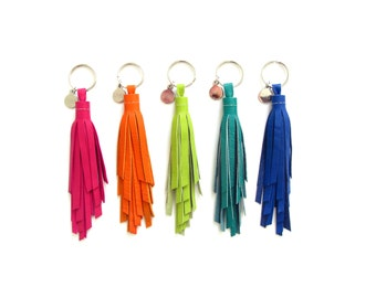 Small Twister Tassel Key Chain   Colorful Leather   Purse Charm   Fringe Keychain   Key Tassle   Bridesmaid Gift   Grad Gift   Upcycled