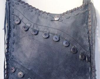 Tessa Mediterranean Gypsy Bag - boho handbag, handmade from recycled charcoal grey leather - one of a kind, eco-friendly, gypsy, purse