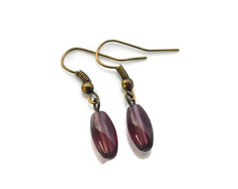 Amethyst Purple Ovals . Earrings