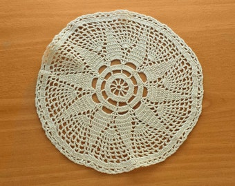Vintage Hand Crocheted Doily, Round Table Doily, 7 inches, Beige Tan Color Doily, Handmade Doily for Decorating, Crafts, Dream Catchers
