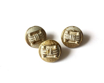 3 Gold & White Vintage Plastic Buttons, 15mm