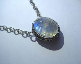 Moonstone Pendant In Antiqued Sterling Silver. Chain Optional.