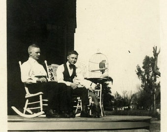 "Vintage Photo ""The Parrot Keepers"" Snapshot Antique Photo Old Black & White Photograph Found Paper Ephemera Vernacular - 186"