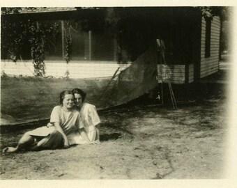 "Vintage Photo ""Forever Friends"" Children Teen Girl Snapshot Antique Photo Old Black & White Photograph Found Paper Ephemera Vernacular - 97"