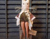 Sweet Primitive Handmade Spring Easter Bunny with Twig Legs Standing on Wood Base