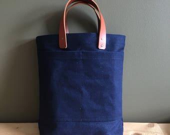 indigo denim blue tote book bag - simple blue jeans tote - neutral indigo book tote - sturdy denim carryal for him - leather and denim tote