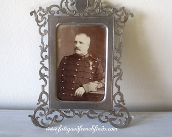Antique French Steel Filigree Frame Containing Antique Military CDV Sepia Photograph