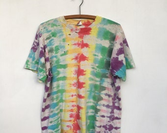 Vintage 90s DISTRESSED Holey Tie Dyed T Shirt L