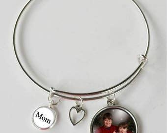 Mothers Day Bracelet - Personalized Jewelry - Photo Bracelet - Adjustable Bracelet - Gift for Mom - Gift Ideas for Mom - Mom Jewelry