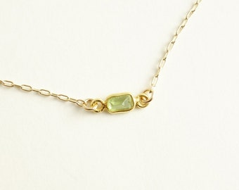 Peridot  Necklace in gold filled chain,GIFT tiny small baguette cut peridot gemstone bezel necklace green