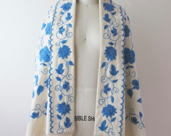 1920s White and Blue Floral Embroidered Cape