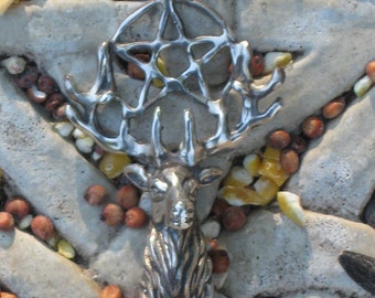 Sterling Silver Elk Head with Pentagram.Pentagram Jewelry.Shaman Charms.Herne The Hunter Charm.Elk Head Pendant.