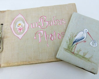 Vintage Baby Books | Baby Photo Book | Baby Memory Book | Old Photographs | Stork | Baby Shower Decor - Lot of 2