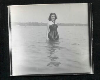 vintage 1940's photograph of sultry woman in the water with black bathing suit.  NOTE: shop holiday-ships September 1