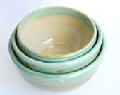 Three Stacking bowls, Prep bowls, Ceramic bowls, Handmade bowls, Blue, White, Glazed