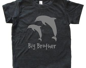 Big Brother Dolphin Tshirt - Kids Dolphin Pair Shirt - Tee - Youth Boy Shirt / Super Soft Kids Tee Sizes 2T 4T 6 8 10 12 - Triblend Gray