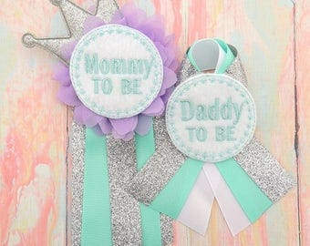 Mommy to be pin - Mommy corsage- Daddy to be pin - Mommy to be pin - Lavender mommy to be pin - Lavender and mint mommy to be corsage