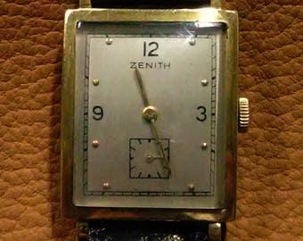 18K Zenith Solid Yellow Gold Tank Wrist Watch
