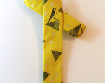 Bright Geo Bird Skinny Tie // Cotton & Silk Necktie, Novelty