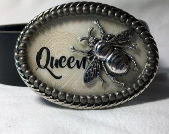 Queen Bee Silver Graphic Belt Buckle