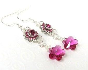 Elegant Fuchsia Flower Drop Earrings, Summer Jewelry, Swarovski Crystal Elements Wedding Jewelry, Dark Pink Earrings, Bridal Jewelry