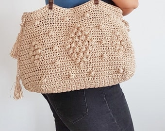 Beige Shoulder Bag Hand Bag Leather Bag  Handmade Bag Leather purse Tote Bag Summer Bag- Gift For Her Christmas Gift Crochet Tote