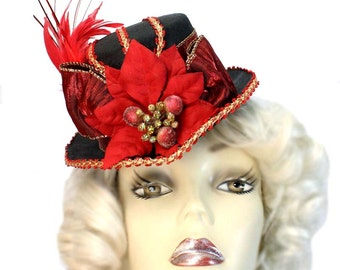 Mini Fascinator Riding Top Hat Poinsettia Red Christmas Winter New Year Steampunk Cocktail