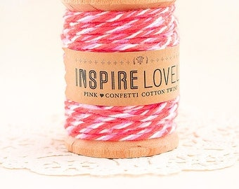 90 yards Pink Confetti Cotton Twine