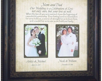 Mother of the Bride Gift, Parents Wedding Frame Sign, Today A Celebration Mom Dad, wedding cake topper, wedding guest book, 16 X 16