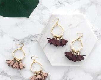 Fringe Hoop Earrings, Suede Fringe Earrings, Floral Earrings, Statement Earrings, Gold Fringe Earrings, Boho Earrings, Festival Earrings