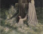 Rock of Ages- 1900s Antique Postcard- Stone Cross- Religious Poem- Edwardian Art- Bamforth Co- Paper Ephemera- Unused