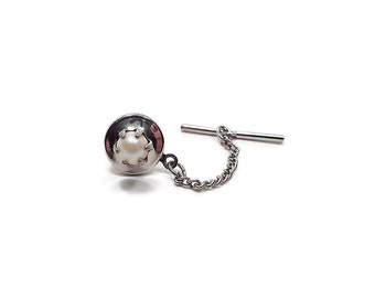 Small Vintage Faux Pearl Tie Tack 6mm 6 mm Round Off White Silver Tone Mens Formal Wedding Jewelry Groom Gift