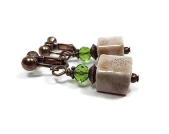Clip on Ceramic Cube Earrings Brown Green Screw Back Antiqued Brass Drop Dangle